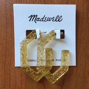 Madewell Gold Glitter Lucite Earrings